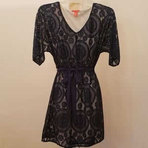 Navy Blue Lace Dress with Neutral Lining S